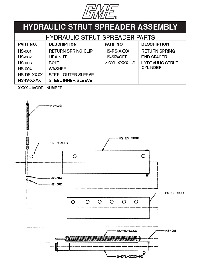 Hydraulic Coil Spreader : Hydraulic strut parts drawing pdf gme trench protection